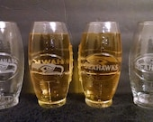 Set of 4 Seattle Seahawks  NFL 23oz Football Shaped Mugs Glasses Tumblers with Logo and Script of Seahawks