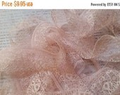 ON SALE 5 Yds Gorgeous Delicate Antique Lace Trim French Cream Pastel Pink