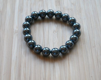 Hematite bracelet, grey gemstone bracelet, mens bracelet, stretch, stacking, beaded, 10mm ball bracelet, bohemian jewelry - everything zen