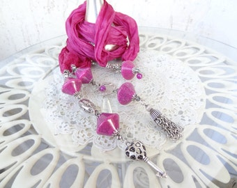 Fuchsia Scarf Necklace, Jewelry Scarf, Scarf Necklace, Turkish Silk Necklace, Women Fashion, OOAK Jewelry, Mother Day Gifts, Christmas Gift