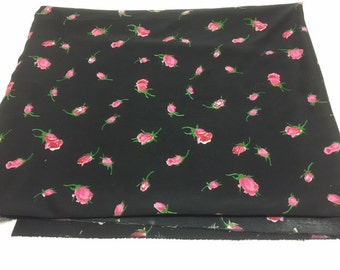 Black And PINK ROSE Fabric /  36 x 58