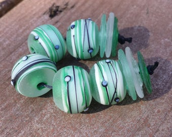 Lampwork Bead set Rounds in minty green ETCHED for a sea glass look