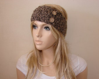 sale brown knit headband with wooden buttons, knitted headband, head wrap, ear warmer, chunky knit headband, woman fashion accessories