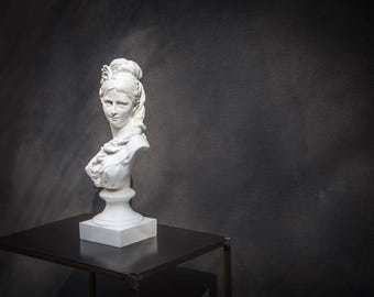 After Carrier-Belleuse Chalk Bust Semi Nude Young Woman Classical Sculpture Plaster // Free Shipping Worldwide