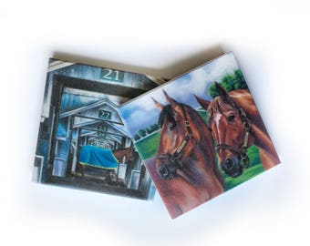 Triple Crown Coaster set: barware drinkware, horse racing kentucky derby, hostess wedding gift, art print, secretariat, american pharoah