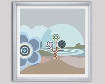 Abstract Seascape Painting, Riverside Decor, Living Room Wall Art, Home Decor, House Warming, Geometric Wall Art, Modern Wall Art