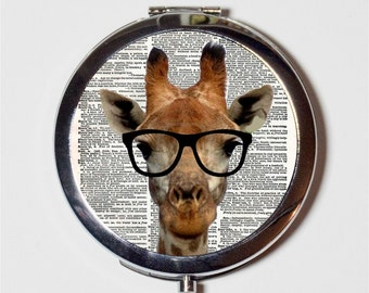 Giraffe Nerd Compact Mirror - Anthropomorphic Animal with Eyeglasses Pop Art Hipster - Make Up Pocket Mirror for Cosmetics