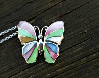 Butterfly necklace, blue necklace, sterling silver necklace,butterfly pendant,pink butterfly pendant, gift ideas,butterfly necklaces,rainbow