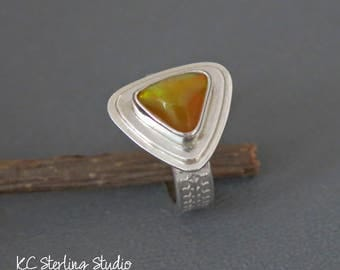Brilliant Ethiopian opal and sterling silver ring size 8 - silversmith metalsmith