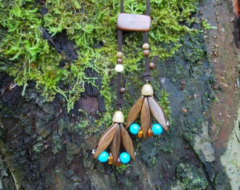 Spring Tulip Oak Wood Turquoise Amber Beads Necklace, Nature Eco Friendly Brown Blue Pendant, Woodland Rustic Necklace, Boho Wood Pendant