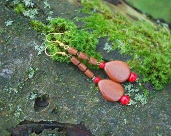 Juniper Drops Earrings, Nature Eco Friendly Juniper Wood Earrings, Woodland Rustic Boho Earrings, Wooden Drops Earrings, Brown Red Earrings