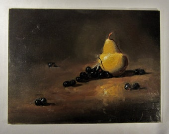 Oil Painting Pear & Grapes  Still Life Fruit