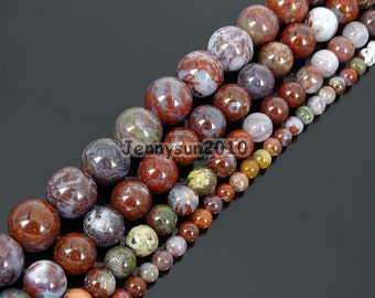 "Natural Red Lightning Agate Gemstone Round Beads 15.5"" 4mm 6mm 8mm 10mm  for Jewelry Making Crafts"