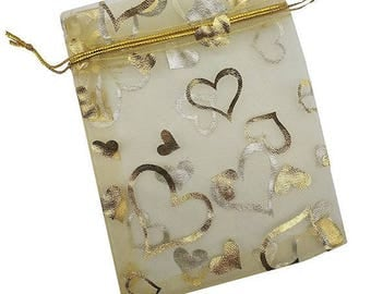 "10 Gold and Silver Hearts Organza Drawstring Bags - 4 1/2"" X 3 1/2"""
