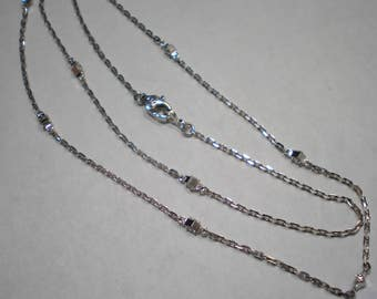 Estate 14k White Gold CZ By The Yard Link Chain Necklace 16.5 Inches