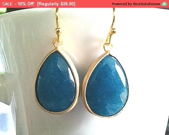 Sea Blue Jade Synthetic Stone Drop Earrings, Dangle earrings, Gemstone, wedding Earrings