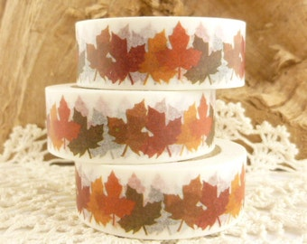 Fall Autumn Maple Leaves  Washi Tape, Orange, Yellow, Brown - 2192