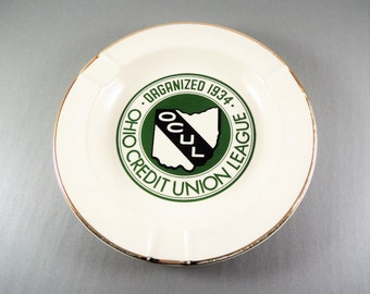 Vintage Ashtray, Ceramic Logo AshTray Ohio Credit Union League Advertising Ashtray Vintage Tobacciana, Bar Smoking Accessory, Mid Century