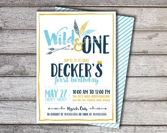 Wild One Birthday Invitation PRINTED with Envelopes - FREE Striped back