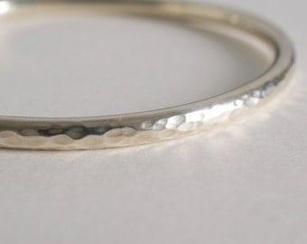 HEAVY hammered sterling silver bangle bracelet - 925 solid sterling silver - round bangle bracelet - thick sterling silver bangle -