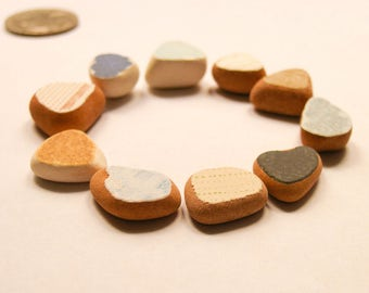10 small pieces,Painted Terracotta , Ring Sized,Sea Jewelry Supply, Sea Pottery Lot, Earthy Beach Pottery,  Mosaic Pieces