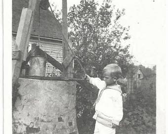 Old Photo Boy at Stone Well 1910s Photograph Snapshot vintage