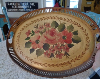 Oval Tole Painted Tray