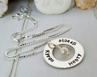 Personalized mother necklace, Sterling silver name necklace, Custom Grandmother necklace, Name plate necklace, Handmade Mother Name Necklace