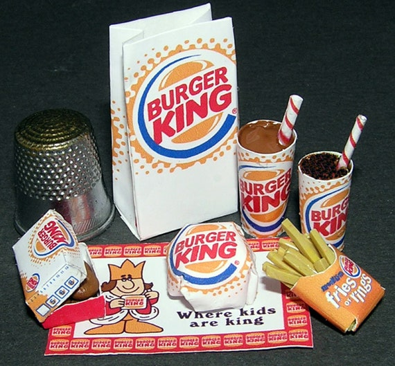 Fast food Burger King, paper minis, DIY kit from paper in miniature for the Doll House, Doll House, dollhouse miniatures # 40036