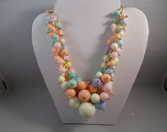 Multi Color Cluster Beads Bib Necklace on a Gold Tone Chain