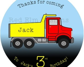 "Dump Truck Party Stickers - Sheet of 20 - 2"" round.  Truck Birthday Party Favors.  2 Inch Round Dump Truck Birthday Party Stickers"