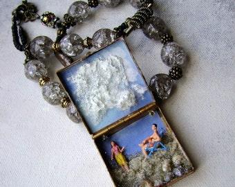 diorama necklace, assemblage necklace, beach theme jewelry, diorama jewelry, miniature diorama, tiny people, AnvilArtifacts
