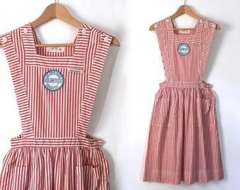 vintage candy striper dress volunteer nurse uniform dress jumper dress pinafore dress apron dress vintage nurse costume dress XS / S