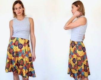 vintage patchwork skirt 70s mustard yellow flare skirt yellow gingham flowers circle skirt flowy boho skirt knee length skirt holly hobbie L