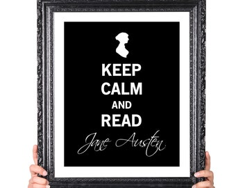 Keep Calm Jane Austen, Vintage Inspired Book Lover Gift, Gifts for Writers, Book Lover Art, Author Gifts, Library Decor, Literary Art