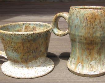 Blue and Gold Ceramic Pour Over w/ Mug Set