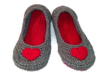Womens Slippers, Heart Slippers, Grey Slipper, Red Heart