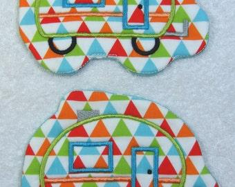 Camper Glamper Embroidered Mug Rug Set of 2 Handmade Over sized Coasters/Mug Rugs Ready to Ship
