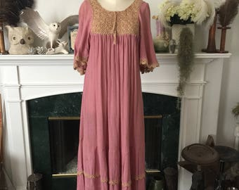 70s Crocheted Trimmed Pink Boho Dress