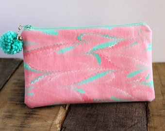 Hand Marbled Zip Pouch - Pink, Mint, White - item #7956