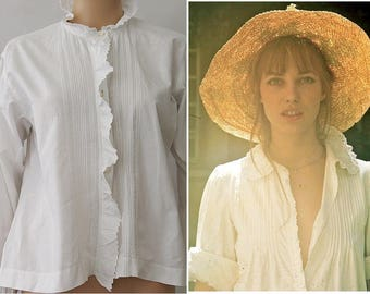 antique french BLOUSE  open lace / pleated cotton/medium white