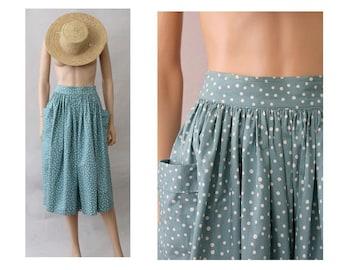 1980s Polka dots Skirt midi