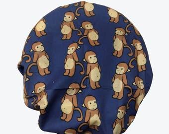 Bouffant Surgical Scrub Hat - Curious Monkeys on Navy Bouffant scrub hat -  Ponytail Scrub hat - Custom Scrub Hat - Personalized Scrub hat