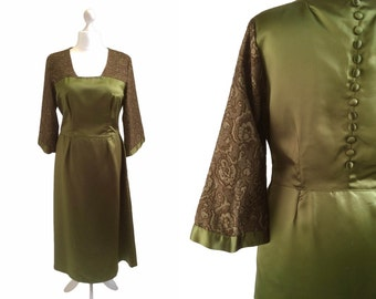 Gorgeous Green Satin Dress - Large - 1950s 1960s - Vintage Dress - Button Detail Back - Olive Green Dress With Bronze Lurex Pagoda Sleeves