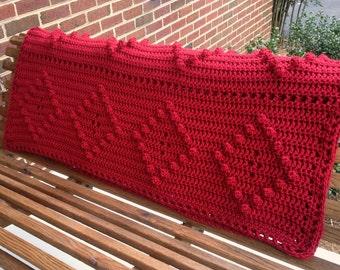 Blanket - Housewarming Gift - Crocheted Afghan - Crochet Blanket -Warm Blanket -Crochet Afghan -Red Blanket -Crocheted Afghan - Soft Blanket