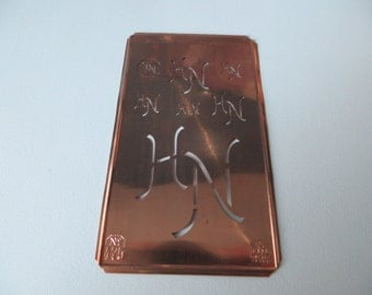 Free Ship Antique  One  Monogram Stencil HN / NH  Letters Initials   Free Shipping Worldwide Airmail