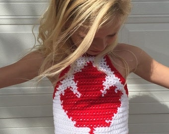 Canada - Maple Leaf Crop Halter Top.  Custom size 2-10years. Children's fashion. Boho. Swimwear. Beach wear.  Vacation.  Summer.  Canada Day