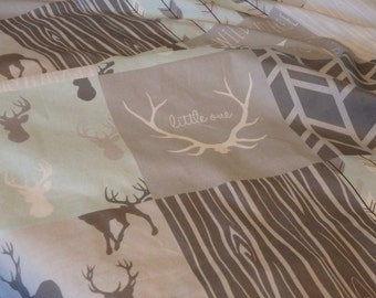Mint and Gray Deer Patchwork Minky Blanket or Quilt