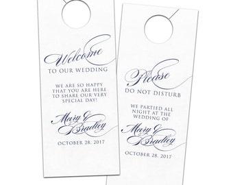 Wedding door hanger elegant classic script calligraphy hotel guest for welcome bags  - bridal do not disturb privacy door sign