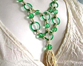 Faceted Glass Bib Necklace, Apple Green Translucent Ring Circles, White Micro Beadwork, Cream Bead Looped Tassle, OOAK Hand Woven Design